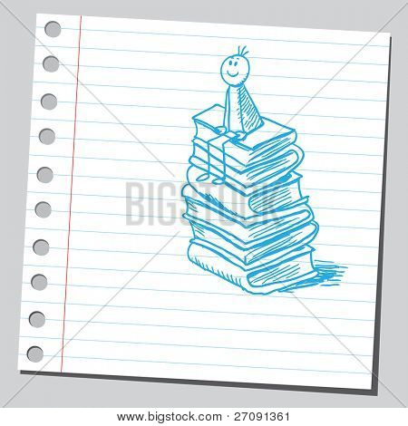 Sketch style vector illustration of a boy siting on books