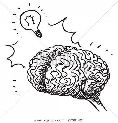 Sketch style illustration of a human brain having an idea