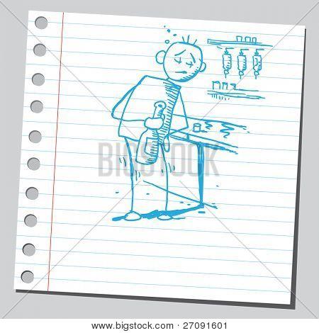 ein betrunkener Mann Skizze Stil Darstellung