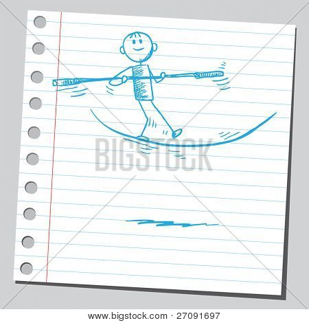 Sketchy illustration of an acrobat on a tightrope