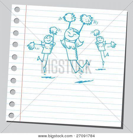 skizzenhafte Darstellung der ein glücklich Cheerleader