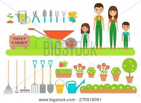 Gardener Characters, Garden Tools. Vector. Gardening Collection. Farm Family In Green Overalls, Boot