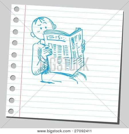 Sketchy illustration of a man reading newspaper