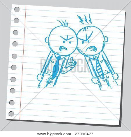 Sketchy illustration of a men arguing
