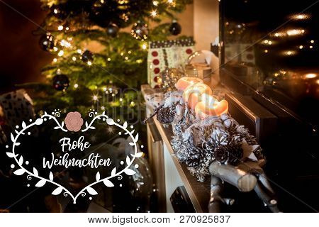 Four Burning Advent Candles Beautiful Decorated Lights Christmas Tree Gifts Textspace Saying Merry C