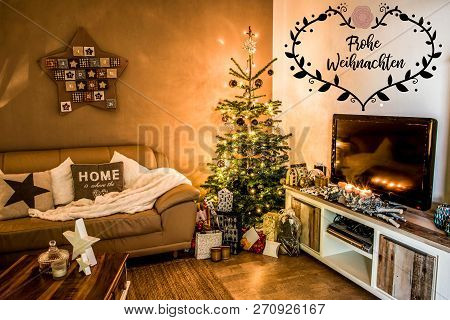 Merry Christmas Beautiful Living Room Tree Setup Aith Gifts Decorated At Home Textspace Saying Merry