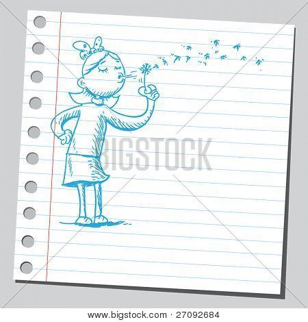 skizzenhafte Darstellung der a Girl holding Löwenzahn