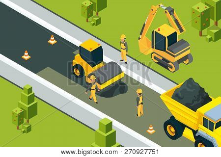 Asphalt Street Roller. Urban Paved Road Laying Safety Ground Workers Builders Yellow Machines Isomet