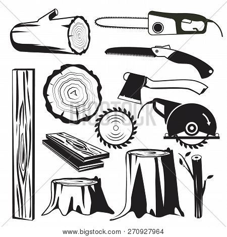 Wood Trunks Black. Wooden Industry Forestry Tree Elements Vector Monochrome Pictures. Illustration O