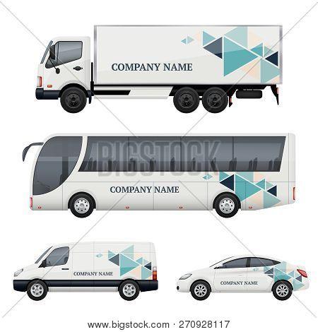 Vehicle Branding. Transportation Advertizing Bus Truck Van Car Realistic Vector Mockup. Illustration