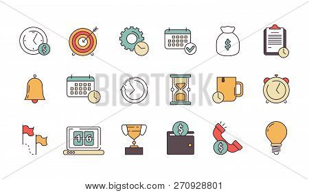 Productive Management Icon. Business Productivity Remind Services Save Time Employees Forecast Vecto