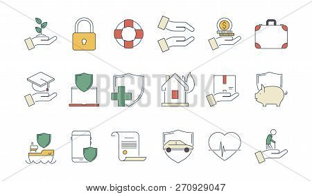 Business Protection Icon. Life Protection Safety Money Insurance Liabilities Caring Medicine Health