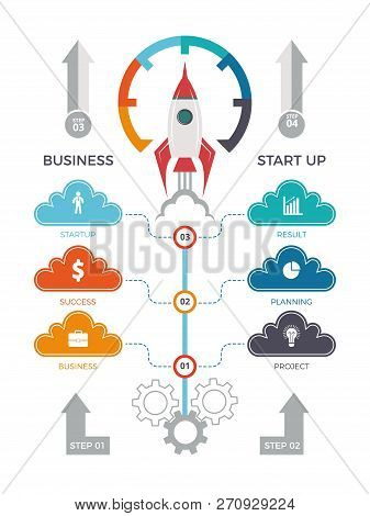 Startup Infographics. Business Launch Concept With Growth Graphic Diagram Arrows And Rocket Or Space