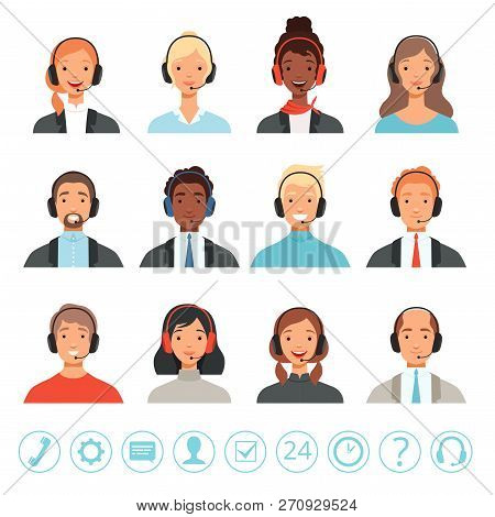 Call Center Operators Avatars. Male And Female Customer Service Contact Help Managers Vector Web Pic