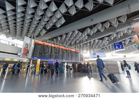 Frankfurt, Germany - November, 2018: Inside Of Frankfurt Airport. Airport Interior With A Flight Inf