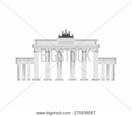 Brandenburg Gate Pixel Art. Berlin Landmark 8 Bit. Germany Showplace Pixelate 16bit. Old Game Comput
