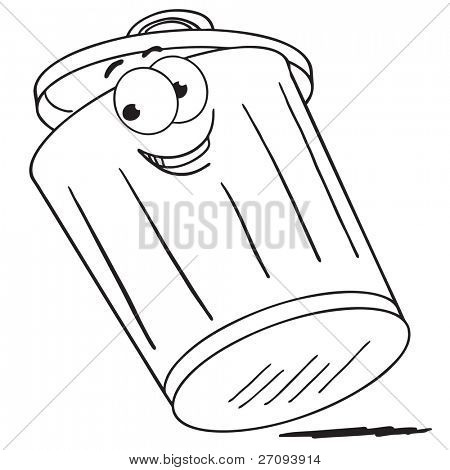 Cartoon illustration of a trash can poster
