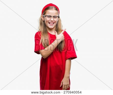 Young beautiful girl wearing glasses over isolated background cheerful with a smile of face pointing with hand and finger up to the side with happy and natural expression on face looking at the camera