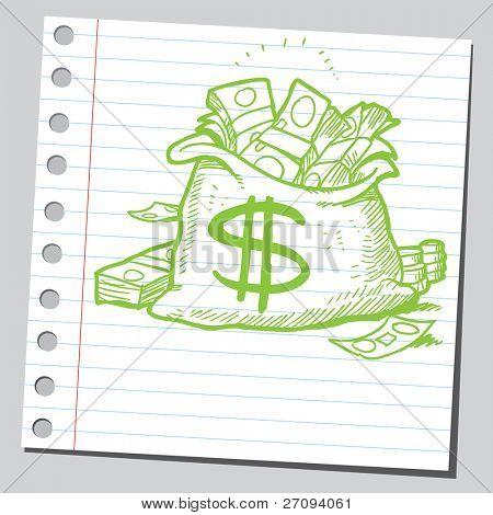 Sketchy illustration of a bag full of money