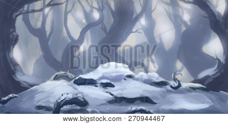 Snow Forest. Fiction Backdrop. Concept Art. Realistic Illustration. Video Game Digital Cg Artwork. N