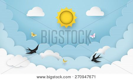 Sun, Clouds, Flying Birds And Butterflies On The Clear Blue Sky Background. Cloudy Scenery Backgroun
