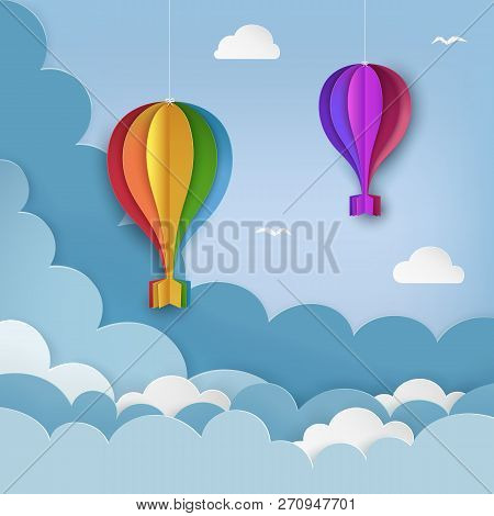 Hanging Paper Craft Hot Air Balloons, Flying Birds, Clouds On The Daytime Sky Background. Cloudy Sky