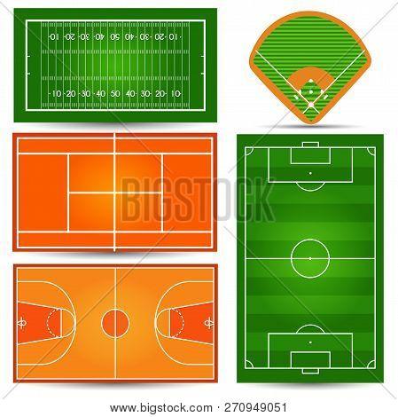Sport Playfield, Court. Football, Soccer, Tennis, Basketball, Ru