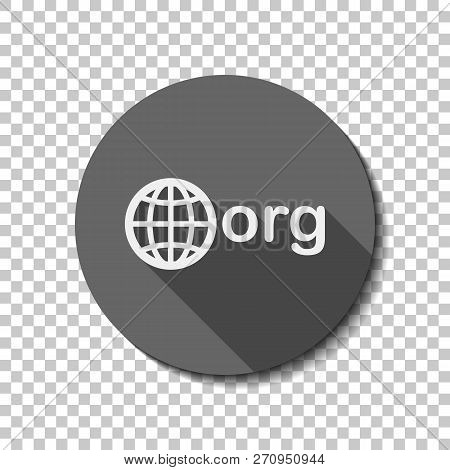 One Of First Domains For Non-profit Organization, Globe And Org. White Flat Icon With Long Shadow In