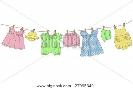 Baby Clothes Hang On The Clothesline. Things Are Dried On Clothespins After Washing. Vector Illustra