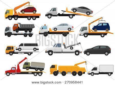 Tow Truck Vector Towing Car Trucking Vehicle Transportation Towage Help On Road Illustration Set Of