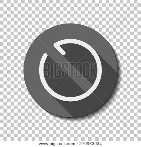 Simple arrows, update, reload, counterclockwise direction. Navigation icon. Simple arrow, backward. Navigation icon. Linear symbol with thin line. One line style. White flat icon with long shadow in circle on transparent background. Badge or sticker style poster