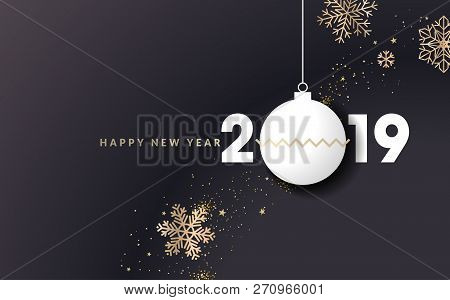 Happy New Year 2019. Vector Illustration Concept For Background, Greeting Card, Website And Mobile W