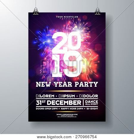 2019 New Year Party Celebration Poster Illustration With Typography Design And Firework On Shiny Col