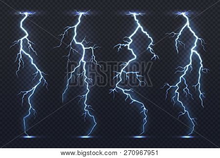 Lightning. Thunder Storm Electricity Blue Sky Flash Stormy Realistic Thunderstorm Rainstorm Climate.
