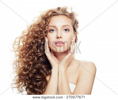Beautiful Spa Woman With Healthy Skin And Perfect Wavy Hair Isolated On White Background, Spa Beauty