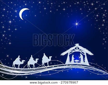 Christian Christmas Theme. Birth Of Jesus, Shining Star And Three Wise Men On Blue Background, Illus