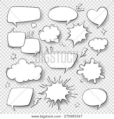 Comic Speech Bubbles. Cartoon Comics Talking And Thought Bubbles. Vector Set Of Speech Shapes.