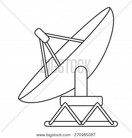 Line Art Black And White Satellite Antena. Science Radar Equipment. Media Theme Vector Illustration