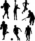 Vector Illustration silhouettes of active men and women playing in and competing in sports (basketball volleyball track and field cross country soccer football baseball softball) poster