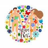 Adam and Eve. Bible genesis vector illustration with naked woman, man and apple, temptation or adamant story in floral garden poster