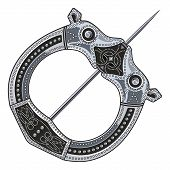 Brooch Fibula. Medieval Viking, Celtic, Germanic traditional decoration, clasp for a cloak poster