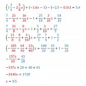 Algebraic equation with one variable equivalence equation decimal fractions poster