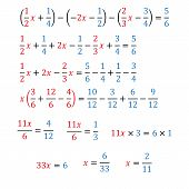 Algebraic equation with one variable simple fractions and mixed fractions poster