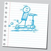 Scribble boy riding scooter