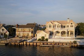 Avalon, New Jersey - June 26, 2018: Luxury Waterfront Beach Houses In Avalon, New Jersey, A Popular
