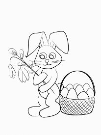 Easter Coloring. Black And White Raster Illustration For Coloring Book.easter Bunny With Snowdrop An