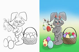 Easter Coloring.  Black And White Raster Illustration And Colorful Illustration Coloring Book For Ki