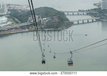 Kowloon, Hong Kong, May 2018 - View Of The Bay From Ngong Ping 360 Cable Cars, Lantau Island, Hong K