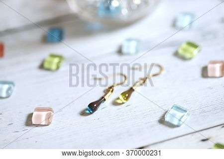 Cute Teardrop-shaped Earring Made Of Glass And Colorful Glass Tiles
