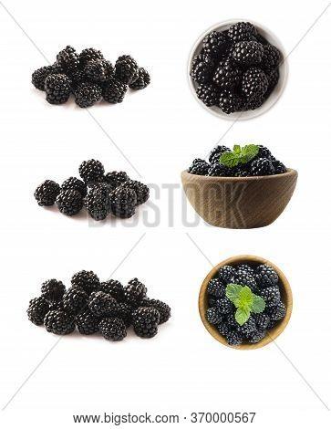Blackberries Isolated On White Background. Blackberries With Copy Space For Text. Blackberries From